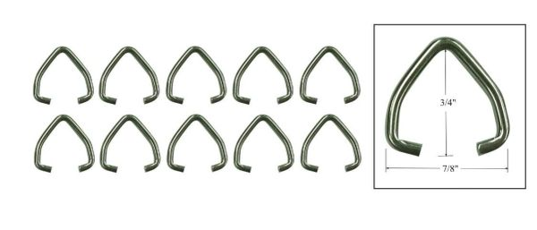 "3/4"" Stainless Steel ""D"" Clip for Drapery Batons (10-Pack)"