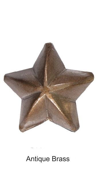 "1/2"" Low Dome ANTIQUE BRASS STAR Upholstery Nails - Pins with 1/2"" Shank (5-Pack)"