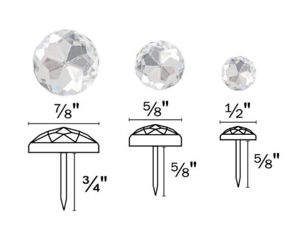 "High Dome CLEAR ACRYLIC ROUND Upholstery Nails - Pins with 3/4"" & 5/8"" Shank - Choose from 3 Sizes! (5-Pack)"