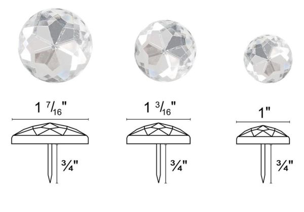 "High Dome CLEAR ACRYLIC ROUND Upholstery Nails - Pins with 3/4"" Shank - Choose from 3 Sizes! (2-Pack)"