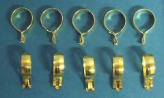 "10 pack 3/4"" ROUND Brass Plated CLIP-ON Slide CAFE RINGS Pinch-On HOLDS TIGHT!"
