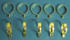 "10 Pack 1 1/4"" ROUND Brass Plated CLIP-ON Slide CAFE RINGS Pinch-on HOLDS TIGHT!"