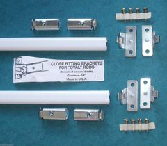 """TWO Oval 3/8"""" SASH RODS for Top & Bottom DOOR SHEERS less than 36"""" PUSH-ON STYLE"""