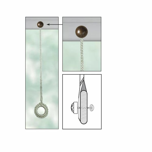 """CREAM Roller Shade Crochet Ring Pull with ROUND Decorative 13/16"""" Nail Pin 5/8"""" Shank and Cap Lock Backing - (sold individually)"""