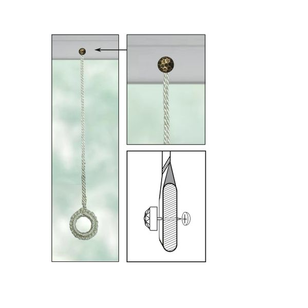 """CREAM Roller Shade Crochet Ring Pull with OXFORD ROUND Decorative 5/8"""" Nail Pin 5/8"""" Shank and Cap Lock Backing - (sold individually)"""