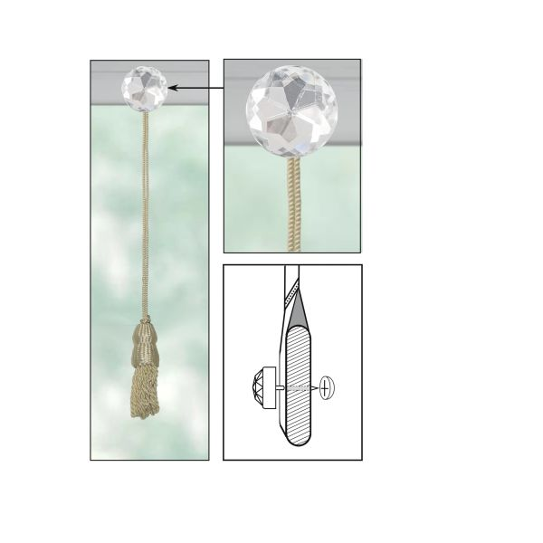 CREAM Roller Shade DOUBLE-CAP TASSEL with CLEAR ACRYLIC ROUND Decorative Nail Pin and Cap Lock Backing - (sold individually)