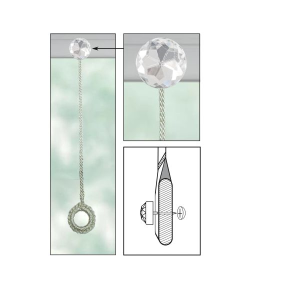 CREAM Roller Shade Crochet Ring Pull with CLEAR ACRYLIC ROUND Decorative Nail Pin and Cap Lock Backing - (sold individually)