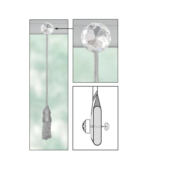 WHITE Roller Shade DOUBLE-CAP TASSEL with CLEAR ACRYLIC ROUND Decorative Nail Pin and Cap Lock Backing - (sold individually)