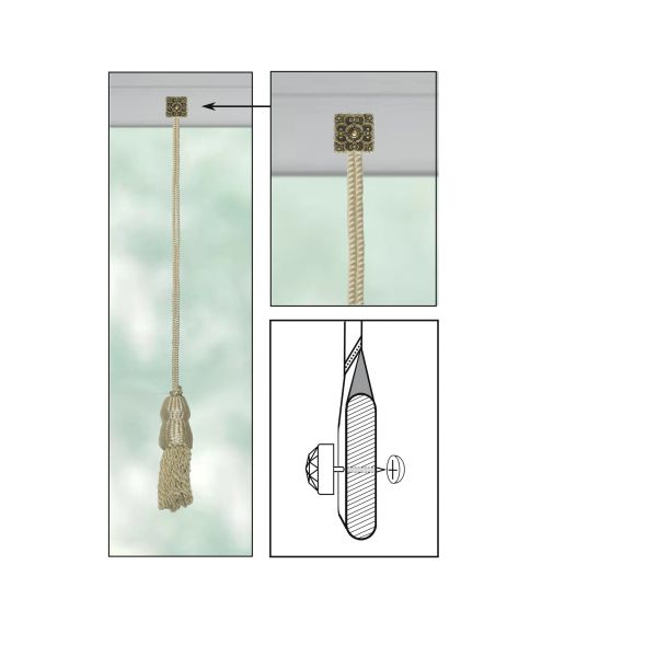 """CREAM Roller Shade DOUBLE-CAP TASSEL with LARGE TILE SQUARE Decorative 3/4"""" Nail Pin 3/4"""" Shank and Cap Lock Backing - (sold individually)"""