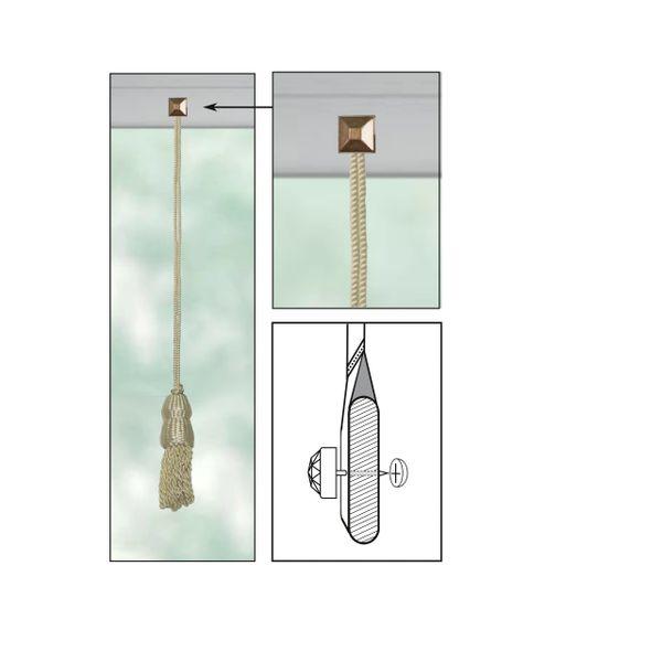 "CREAM Roller Shade DOUBLE-CAP TASSEL with CUT PYRAMID Decorative 11/16"" Nail Pin 3/4"" Shank and Cap Lock Backing - (sold individually)"