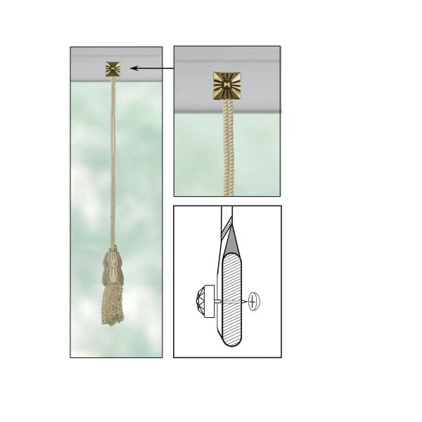 """CREAM Roller Shade DOUBLE-CAP TASSEL with SQUARE SHIELD Decorative 11/16"""" Nail Pin 1/2"""" Shank and Cap Lock Backing - (sold individually)"""