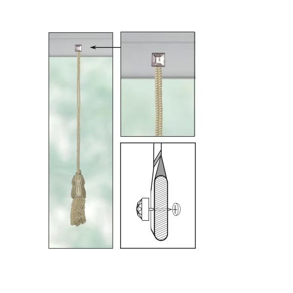 """CREAM Roller Shade DOUBLE-CAP TASSEL with CLEAR ACRYLIC SQUARE Decorative 9/16"""" Nail Pin 5/8"""" Shank and Cap Lock Backing - (sold individually)"""