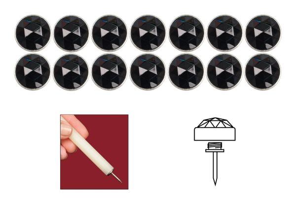 Black Diamond Head Elite Genuine Bohemian Crystal Upholstery Nail Tacks for Furniture Headboards and Shades - 14 Pack