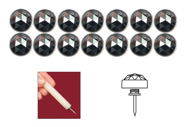 Silver Finish Diamond Head Elite Genuine Bohemian Crystal Upholstery Nail Tacks for Furniture Headboards and Shades - 14 Pack