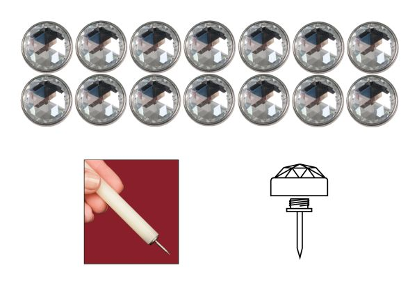 Clear White Diamond Head Elite Genuine Bohemian Crystal Upholstery Nail Tacks for Furniture Headboards and Shades - 14 Pack