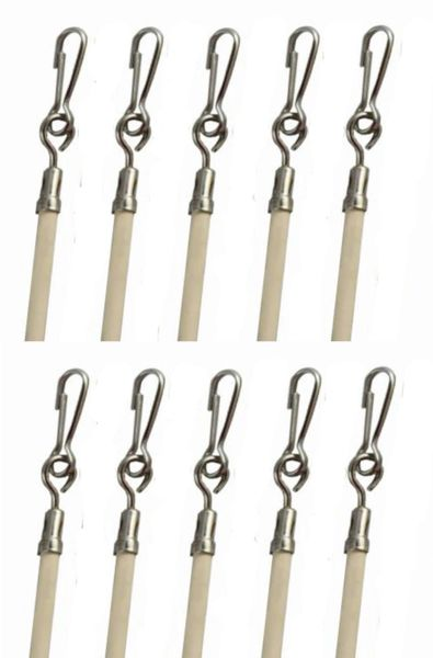 "29"" Almond Vinyl Coated Steel Drapery BATONS with Stainless Steel Hooks (10-Pack)"