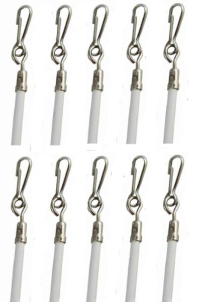 "29"" White Vinyl Coated Steel Drapery BATONS with Stainless Steel Hooks (10-Pack)"