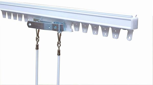 "48"" Heavy Duty EZ-Track Drapery Track - Including Two 29"" White Steel Batons"