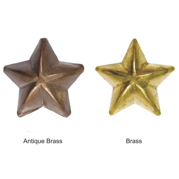 """1/2"""" Low Dome ANTIQUE BRASS STAR & BRASS STAR Upholstery Nails - Pins with 1/2"""" Shank (5-Pack)"""