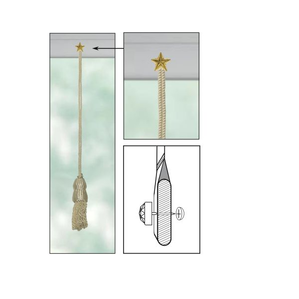 """CREAM Roller Shade DOUBLE-CAP TASSEL with BRASS STAR Decorative 1/2"""" Nail Pin 1/2"""" Shank and Cap Lock Backing - (sold individually)"""