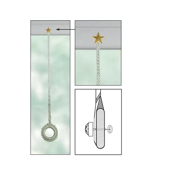 """CREAM Roller Shade Crochet Ring Pull with BRASS STAR Decorative 7/16"""" Nail Pin 5/8"""" Shank and Cap Lock Backing - (sold individually)"""