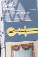 "Kirsch 38""-66"" Regatta SWAG 'N TAILS Pole Set ~ SHINY BRASS Finish #5464-063"