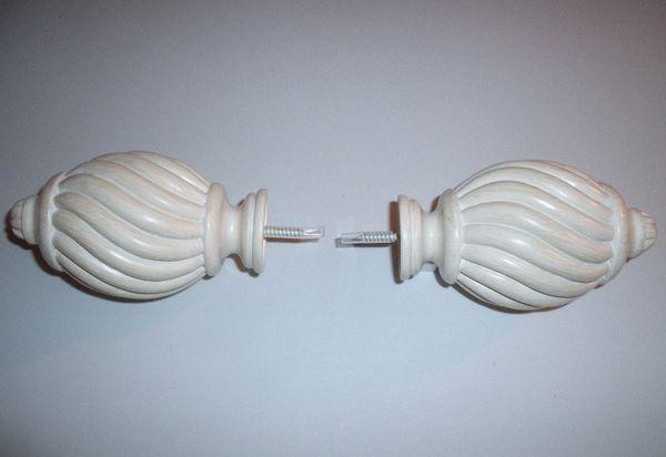 "One Pair KIRSCH 1 3/8"" Ant. White CHEYENNE Decorative Pole FINIALS #HD55560-788"