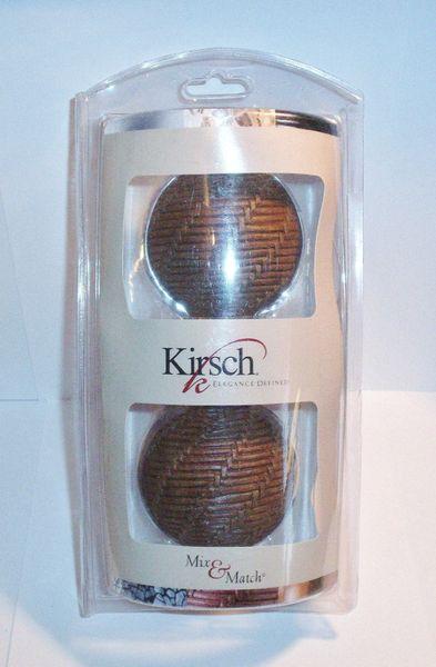 """One Pair 1 3/8"""" Kirsch MIX & MATCH Brown WOVEN BALL Screw-in FINIALS 73291-999"""