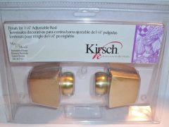 """1 pair BURNISHED BRASS Kirsch 1 1/8"""" Metal Pole TAPERED SQUARE FINIALS #3616-743"""