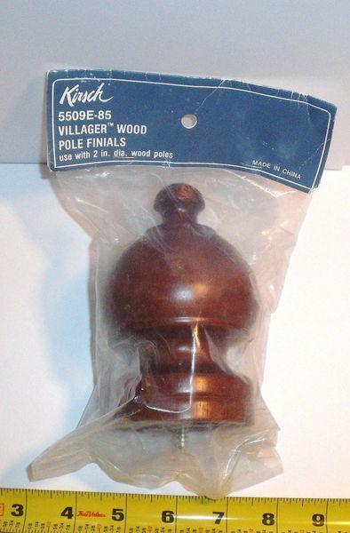 "One KIRSCH 2"" Wood Pole SHERWOOD Decorative MAHOGANY FINIAL Screw-In #5509E-085"