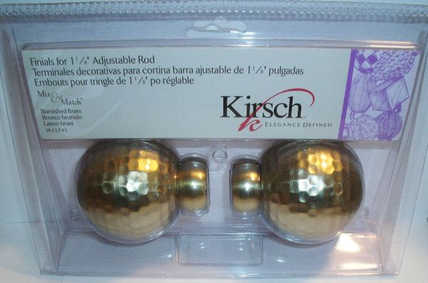 "One Pair BURNISHED BRASS Kirsch 1 1/8"" Metal Pole HAMMERED BALL FINIALS 3633-743"