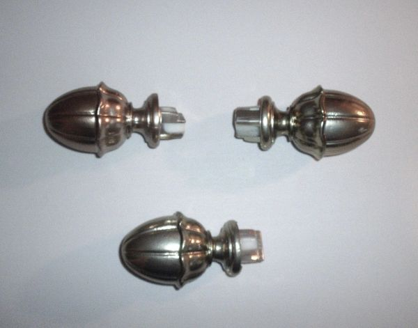 "3 ea. KIRSCH 1 3/8"" Decorative Traverse Rod PEWTER Push-in Plug VICTORIA FINIALS"