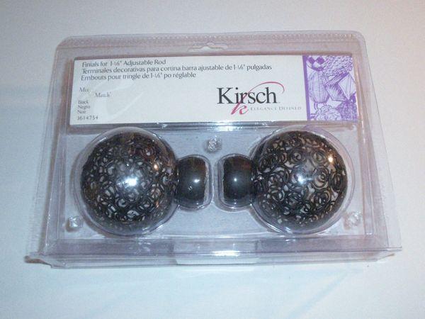 """One Pair BLACK Kirsch MIX & MATCH 1 1/8"""" Wire Spiral BALL FINIALS #3614-754 NEW!"""