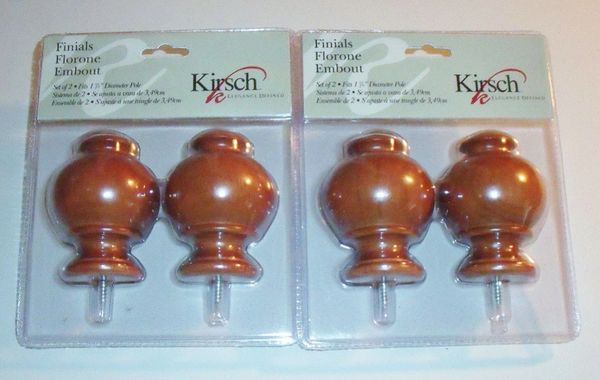 "TWO Pair 1 3/8"" KIRSCH Florone WALNUT Screw-in BUTTON BALL FINIALS #5629-085 New"