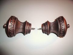 """ONE PAIR of 1 3/8"""" Kirsch BRUSHED COPPER Screw-in CAMBER FINIALS #HD55563-115"""