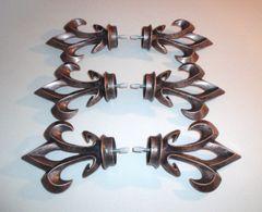"THREE PAIR of 1 3/8"" Kirsch BRUSHED COPPER Screw-in ARROYO FINIALS HD55556-115"