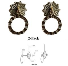 Designer Series Roller Shade Ring PULLS - Antique Brass Wavy Ribbon 2-Pack