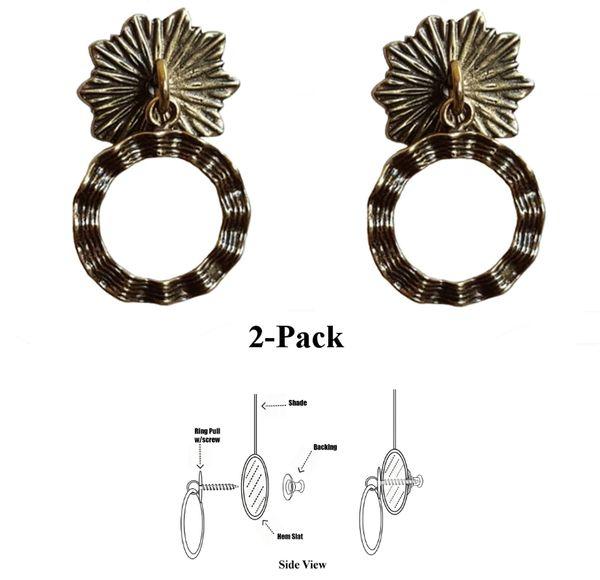 DESIGNER SERIES - Roller Window Shade RING PULLS - Antique Brass WAVY RIBBON (2-Pack)