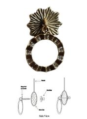 Designer Series Roller Shade Ring PULL - Antique Brass Wavy Ribbon