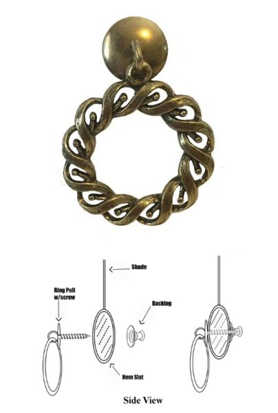 DESIGNER SERIES - Roller Window Shade RING PULL - Antique Brass WOVEN ROPE