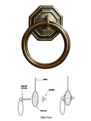 Designer Series Roller Shade Ring PULL - Antique Brass Hexagon Round