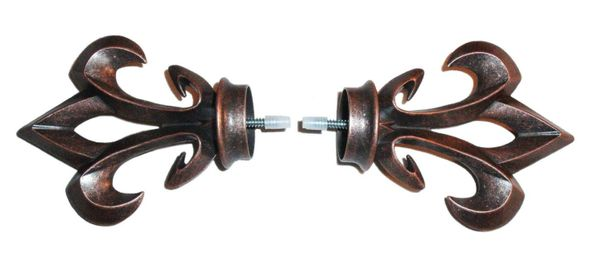 """ONE PAIR of 1 3/8"""" Kirsch BRUSHED COPPER Screw-in ARROYO FINIALS HD55556-115"""