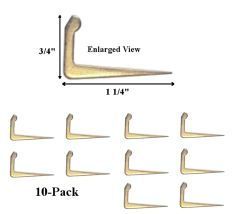Shade Doctor of Maine Extra Large Brass Tenter Hooks - 10 Pack