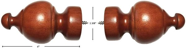 "Kirsch LIGHT CHERRY Sherwood Finials for 1 3/8"" Wood Pole #5609E-082"