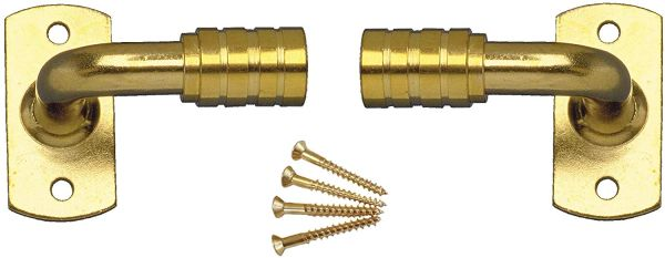 "1"" Projection OUTSIDE MOUNT Brass Plated GOOSENECK Extension BRACKETS for 3/8"" Rodding (1-Pair)"