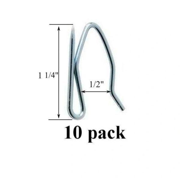 10 pack Heavy Duty PROFESSIONAL GRADE DRAPERY HOOKS Pins for Pleated Drapes