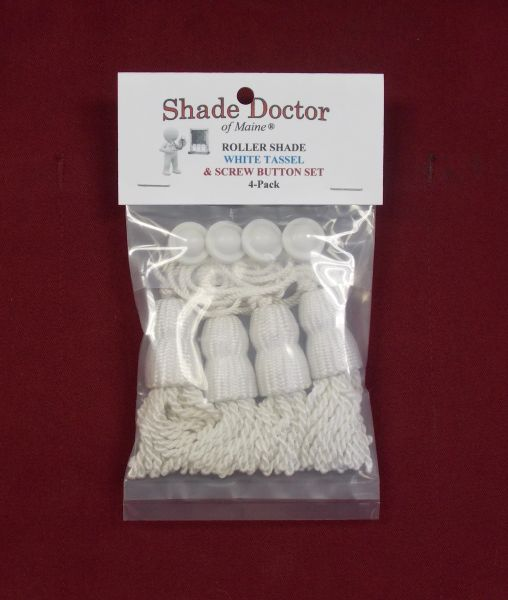 Original SHADE DOCTOR Roller Window Shade ~ WHITE TASSEL & SCREW BUTTON 4-Pack
