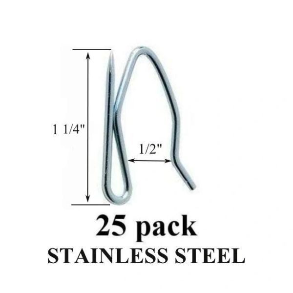 25 Pack Heavy Duty STAINLESS STEEL Drapery Pins Hooks for Pleated Draperies - Will Not Rust!