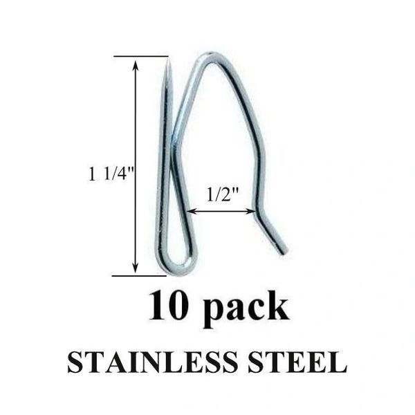 10 Pack Heavy Duty STAINLESS STEEL Drapery Pins Hooks for Pleated Draperies - Will Not Rust!