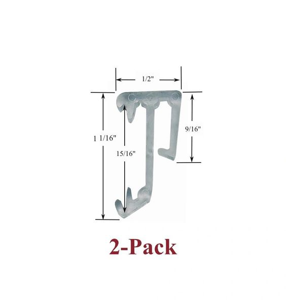 "1"" Single Slat CLEAR VALANCE RETAINER CLIPS for Horizontal Wood or Mini Blinds (2-Pack)"
